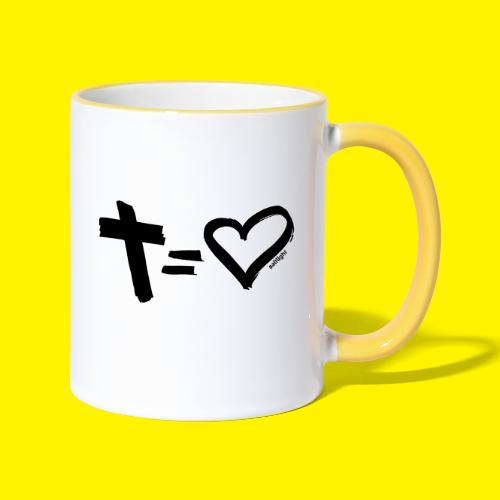 Cross = Heart BLACK - Contrasting Mug