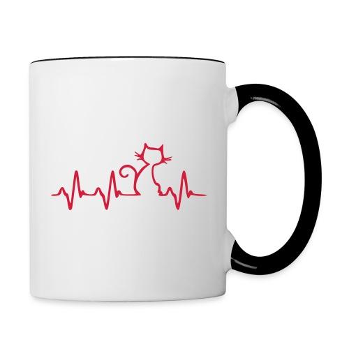 Vorschau: Cat Heartbeat - Tasse zweifarbig
