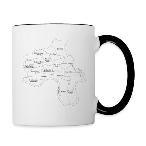 Power Hamlets borough map black on white - Contrasting Mug