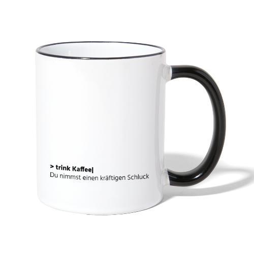 Trink Kaffee - grau - Tasse zweifarbig