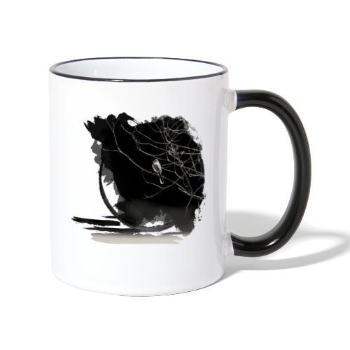 bird in zen circle above water bird on branch Zen - Contrasting Mug