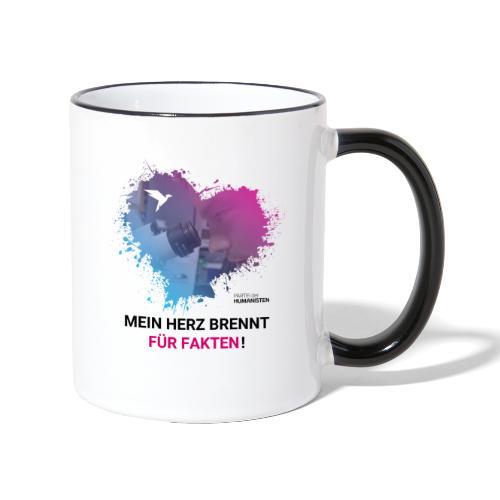 Mein Herz brennt für Fakten! - Tasse zweifarbig