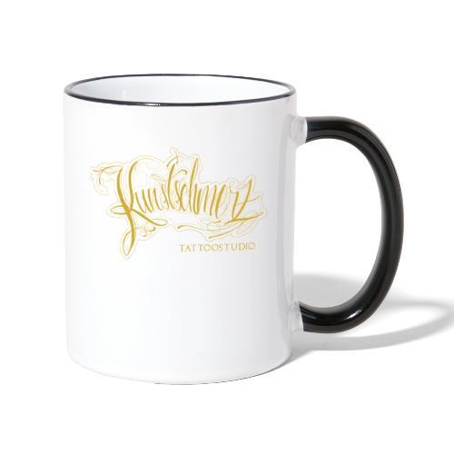 Kunstschmerz Logo Schrift gold - Tasse zweifarbig