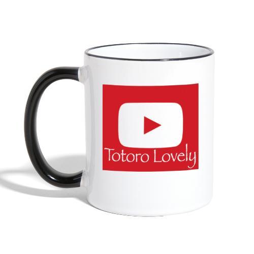 Totoro Lovely + YT logo bak, fram - Tvåfärgad mugg