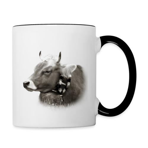 Allgäu Kuh sepia - Tasse zweifarbig