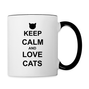 Keep Calm and Love Cats - Black - Contrasting Mug