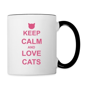 Keep Calm and Love Cats - Pink - Contrasting Mug