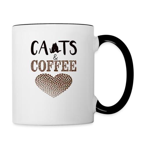 Katzen und Kaffee Schwarze Schrift - Tasse zweifarbig