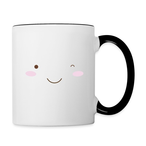 happy face wink - Contrasting Mug