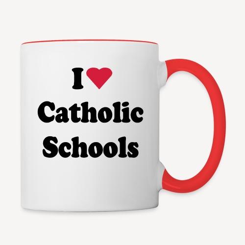 I LOVE CATHOLIC SCHOOLS - Contrasting Mug