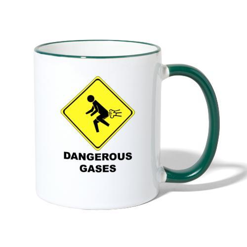 Gefährliche Gase lustiges Schild Furzen Furz - Tasse zweifarbig