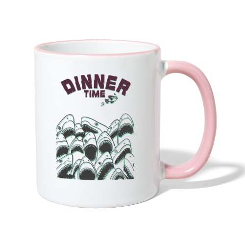 Dinner Time Funny Retro 90s Shark Shirt - Contrasting Mug