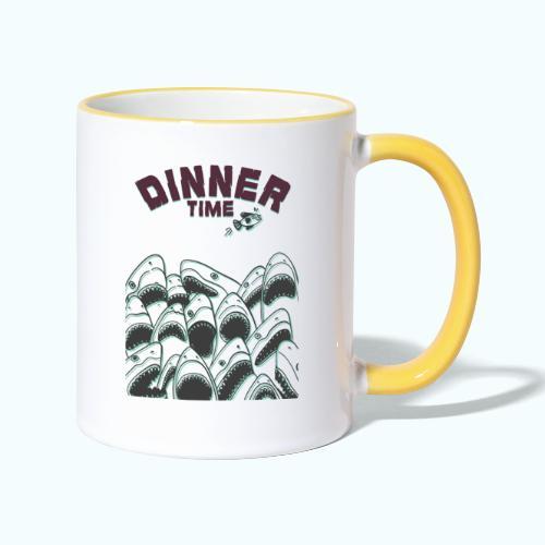 Dinner Time Funny Retro 90s Shark Shirt - Contrasting Mug