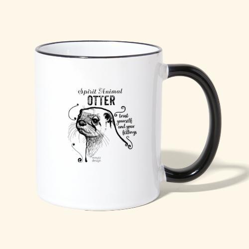 Spirit Animal Otter schwarz - Tasse zweifarbig