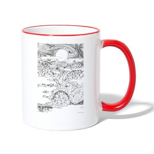 doodle montagna, disegno scena naturale notturna - Tazze bicolor