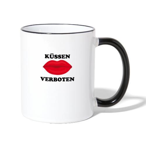 Küssen verboten Kussmund Mundschutz Maske Mund Rot - Tasse zweifarbig