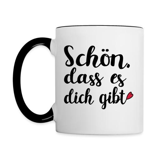 Schön dass es dich gibt Mann Frau Liebe Geschenk - Tasse zweifarbig