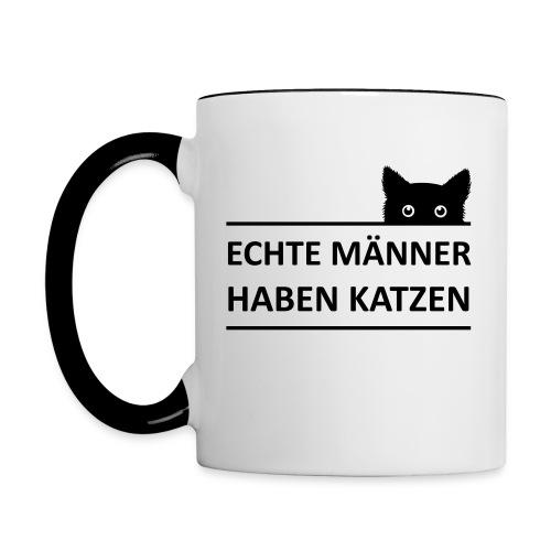 Vorschau: Echte Männer haben Katzen - Tasse zweifarbig