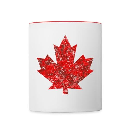 Kanada Canada Maple Leaf Ahornblatt Grunge Amerika - Contrasting Mug