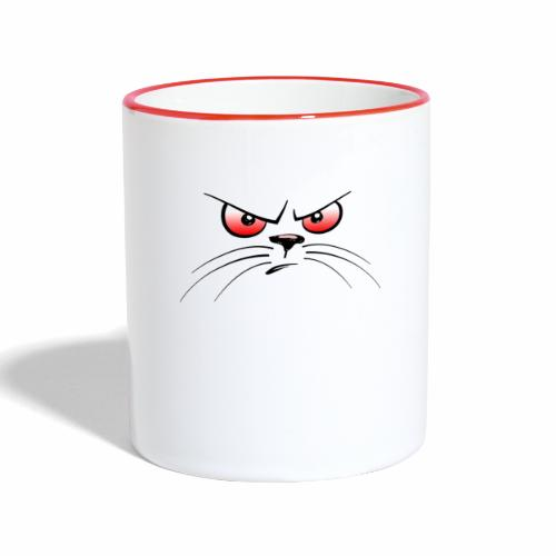 GATTO ARRABBIATO OCCHI ROSSI - ANGRY CAT RED EYES - Tazze bicolor