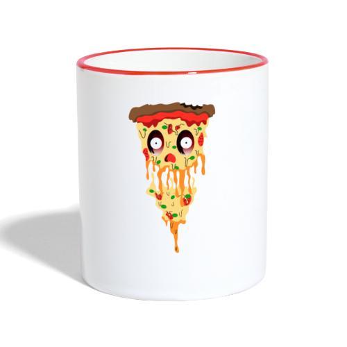 Schockierte Horror Pizza - Tasse zweifarbig