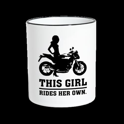 This Girl rides her own - Naked bike - Kaksivärinen muki
