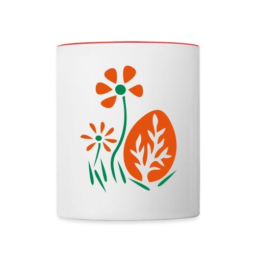 Ostern mit Osterei und Blüten - Tasse zweifarbig