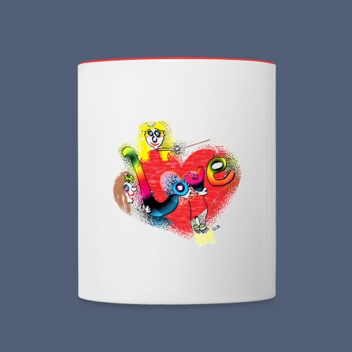 Liebe statt Hiebe groß - Tasse zweifarbig