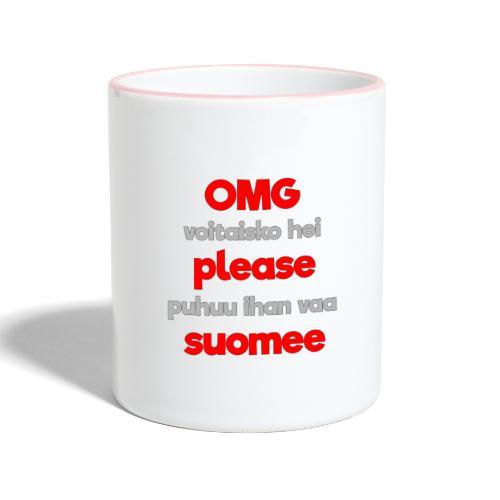 OMG please puhutaa suomee, punainen - Kaksivärinen muki