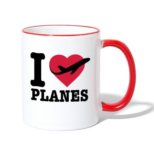 Uwielbiam samoloty - czarne - Kubek dwukolorowy