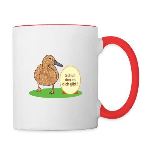 Ente mit Ei - Tasse zweifarbig