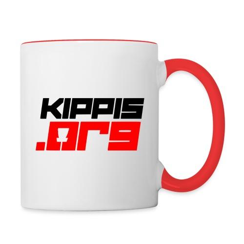 Kippis.org -tekstilogo - Kaksivärinen muki