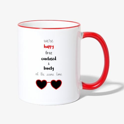 Happy Free Confused & Lonely - Contrasting Mug