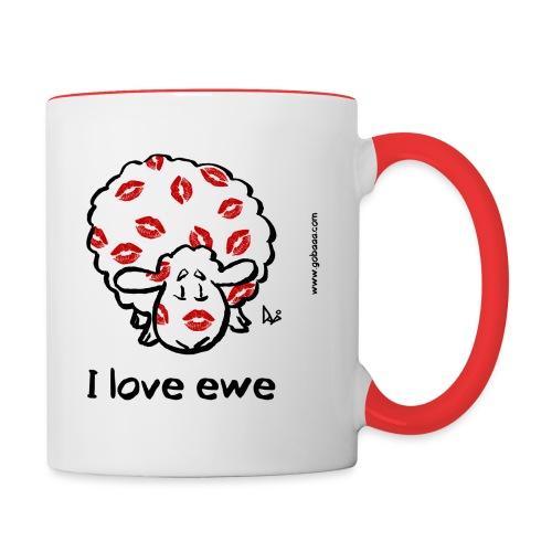 Kiss Ewe (Ich liebe Ewe Edition) - Tasse zweifarbig