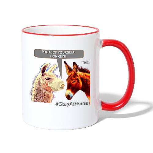 Protect Yourself Donkey - Coronavirus - Tasse zweifarbig