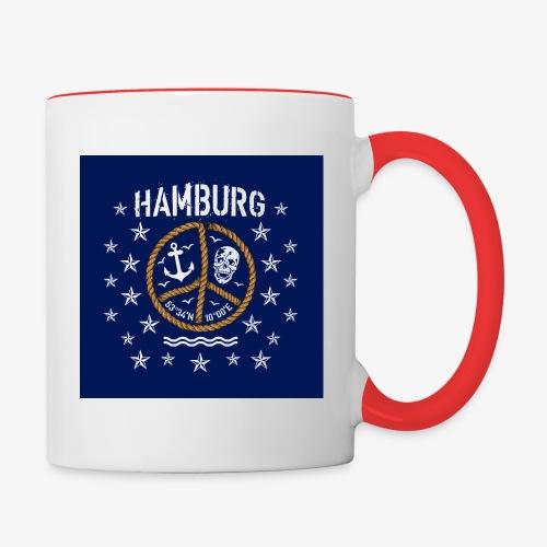 07 Hamburg Totenkopf Koordinaten Peace Anker Maske - Tasse zweifarbig