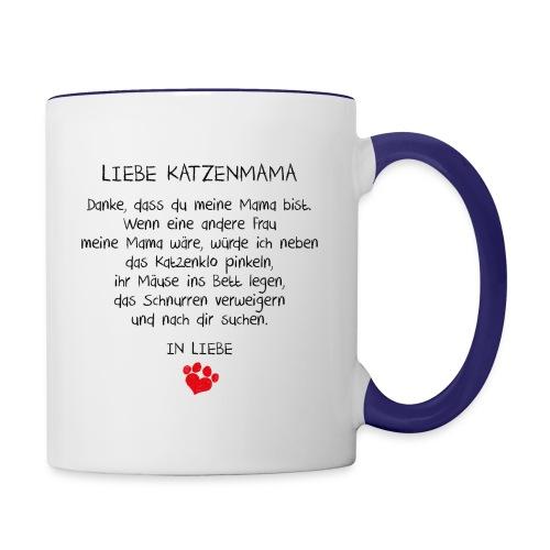Vorschau: Liebe Katzenmama - Tasse zweifarbig