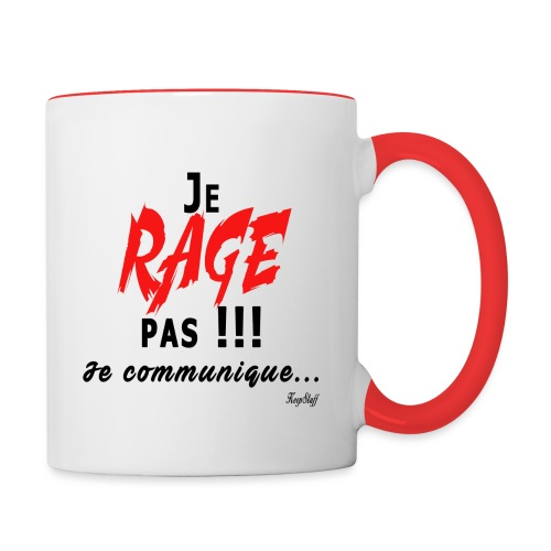 Je rage pas je communique Noir Rouge - Mug contrasté