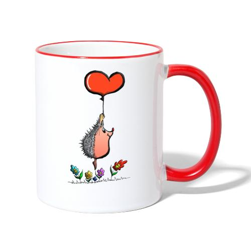 Hérisson avec une ballon pour les amoureux - Mug contrasté