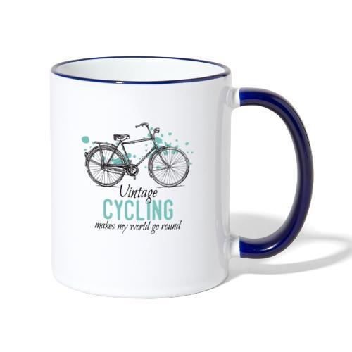 Retro Style Vintage Fahrrad Zeichnung - Tasse zweifarbig