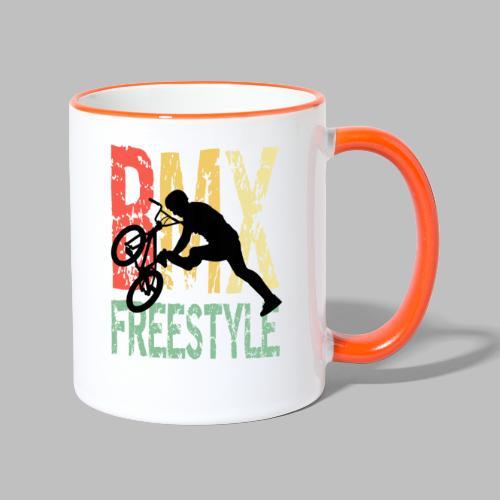 bmx freestyle retro geschenkidee - Tasse zweifarbig