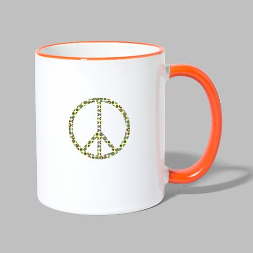 Peace Peacezeichen Frieden 70er Jahre Flowerpower - Tasse zweifarbig