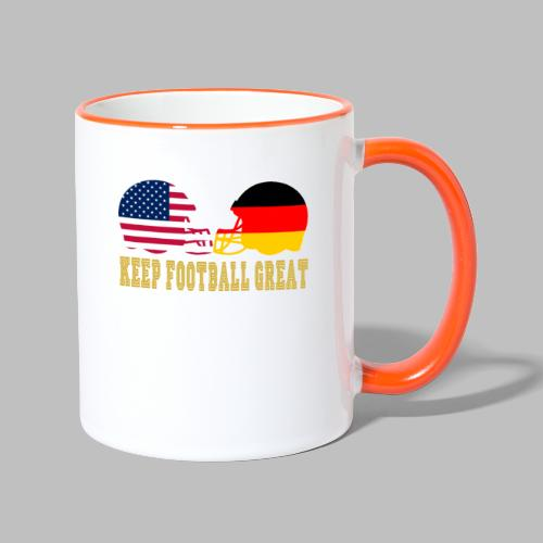 Keep Football Great Football helme USA Deutschland - Tasse zweifarbig
