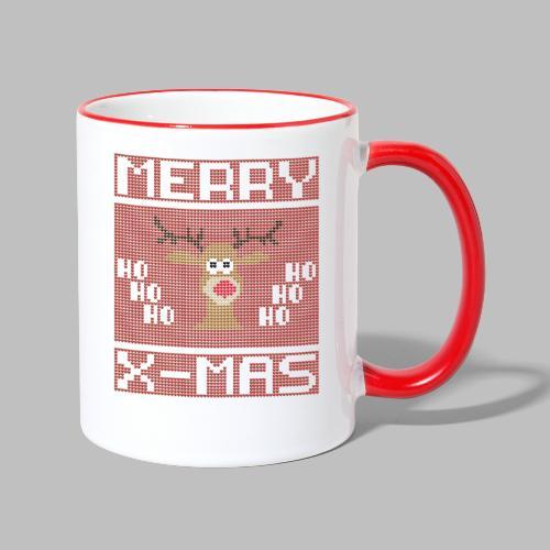 Merry X-Mas Ugly Sweater Design Geschenk - Tasse zweifarbig