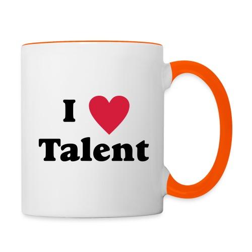 Ich liebe Talent Herz - keinesfalls untalentiert - Tasse zweifarbig