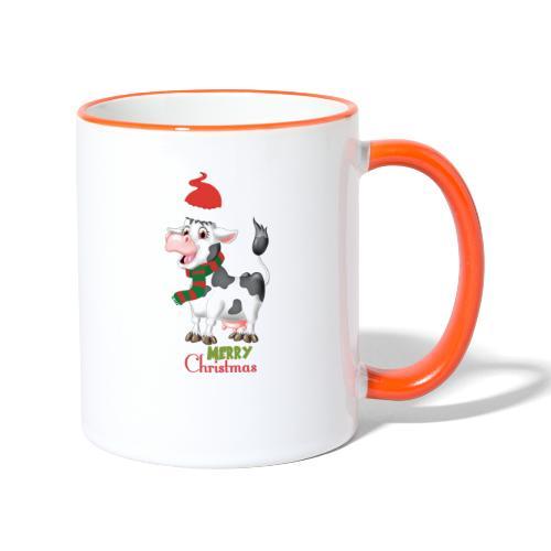 Merry Christmas - cow - Tvåfärgad mugg
