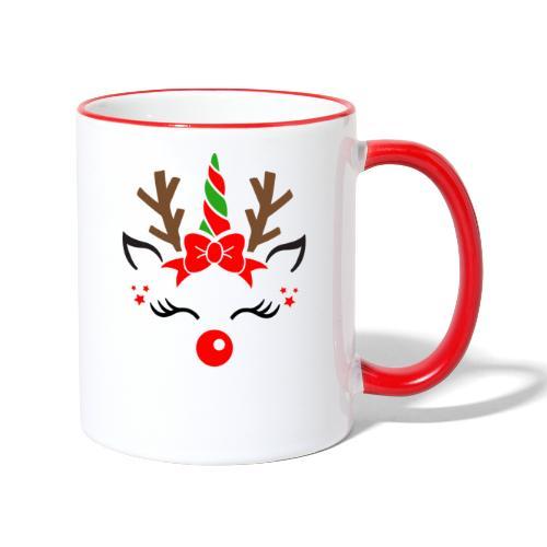 Licorne renne de Noël - Mug contrasté
