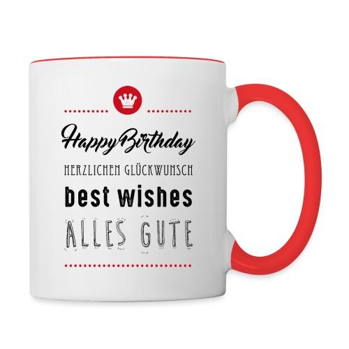 Happy birthday - Alles Gute - Tasse zweifarbig