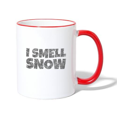 I Smell Snow (Dunkelgrau) Schnee, Wintersport, Ski - Tasse zweifarbig