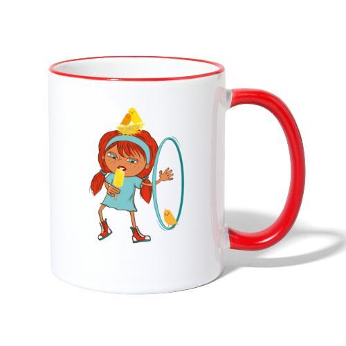 Happy Girl mit Eis, Vögeln und HulaHoop - Tasse zweifarbig